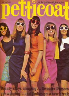 Sweater Dresses go swinging… Petticoat magazine, April 1966.