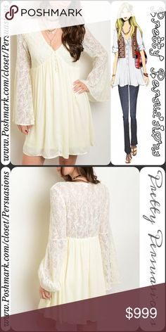 """SALENWT With Love Bell Sleeve & Lace Ivory Dress NWT With Love Lace Bell Sleeve Mini Dress Tunic  Available in sizes S, M, L Measurements taken from a size small  Length: 32"""" Bust: 34"""" Waist: 30""""  100% Rayon   Features  • stunning vintage floral lace upper  • plunging neckline  • long bell sleeves  • button accents  • lined • sheer lace at back • relaxed swing fit • soft, breathable material   Color: Ivory Also available in: Midnight Blue & Blush  Bundle discounts available  No pp or trades…"""