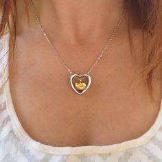 En acier inoxydable coeur à coeur crémation collier par JustVial
