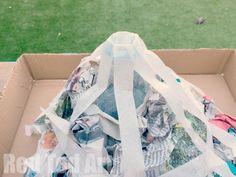 How to make a papier mache volcano for science fair - step 3