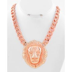 """Rose Gold Tone Lion Pendant Necklace Rose Gold Tone / Lead&nickel Compliant / Metal / Animal / Lion Pendant / Necklace •   LENGTH : 18"""" + EXT •   POINT ACCESSORY : 2 1/4"""" W X 2 1/2"""" L  •   R.GOLD ( No earrings included ) R.E.A.L Jewelry Jewelry Necklaces"""