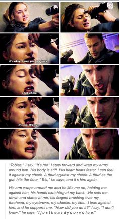 Tris and Tobias. I love this scene and the movie/book love both Shailene Woodley and Theo James