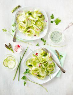 Fresh Asparagus Ribbon Salad:  asparagus, garlic cloves, sea salt, sour cream, olive oil, lemon juice, fresh parsley, fresh chives, milk optional, lettuce, cucumber, radishes