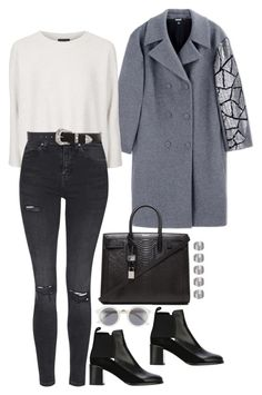 """""""Untitled #1475"""" by samikayy76 ❤ liked on Polyvore featuring DKNY, Yves Saint Laurent, A.J. Morgan, See by Chloé, Topshop and B-Low the Belt"""