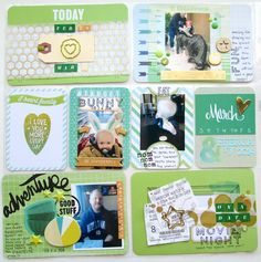 IMG_2125 Colie Kumar cute pocket scrapbooking or PL project life layout pages using fun green mixed media
