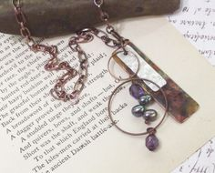 PurpLe pEaCock pearL CoPper nECkLace reCycLed meTaL by dreamspirit, $24.00