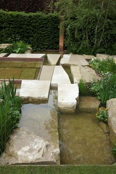 Limestone slabs at Sarah Price's garden Chelsea Flower Show