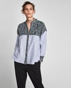 CĂMAŞĂ DIN TWEED COMBINATĂ CU DUNGI Chanel Fashion, Chanel Style, Classy Casual, Sewing Clothes, Tweed, Boho Dress, Blouse Designs, Bomber Jacket, Zara