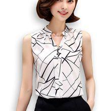 Coreano blusas da moda 2016 roupa do verão das mulheres branca sem mangas chiffon blusa feminina Tops senhoras de gola V plus size