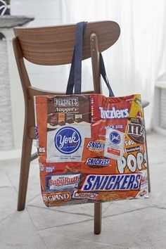 If you've got a sweet tooth, why not tell the world with this fun candy label treat bag? Use it yourself or let the kid take it Trick or Treating,
