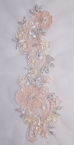 Hand-made motif with tender peach silk organza applique Hand Embroidery Dress, Tambour Embroidery, Bead Embroidery Patterns, Tambour Beading, Flower Embroidery Designs, Silk Ribbon Embroidery, Bead Embroidery Jewelry, Couture Embroidery, Zardozi Embroidery