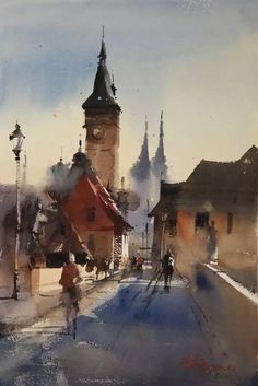 Fei Xiqiang Watercolor Pictures, Watercolour Paintings, Watercolor Artists, Watercolours, Painting & Drawing, Watercolor Architecture, Watercolor Landscape, City Scapes, Temple
