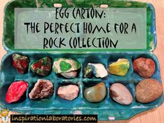 GO TO PARK BRING FND OCKS PAINT THEM PUT IN EGG CARTON.EVERYBODY  MAKE A ROCK ADD GOOGLE EYES OR MARKER FACES. OR GLITTER ROCKS. PUFF PAINT THEM FACES