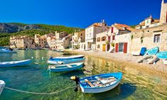 Scenin beach in Komiža waterfront, Island of Vis, Croatia