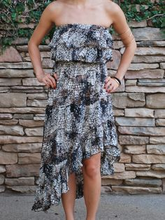 Alythea Asymmetrical Strapless Print Dress $60.00 ShopBloved, Live Laugh and Bloved