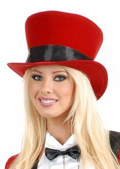 Adult Red Black Velvet Victorian Top Hat Black Ribbon 302829db7549