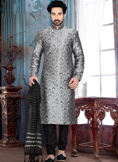 Exquisite Grey Brocade Art Silk Marriage Wear Kurta Pajama