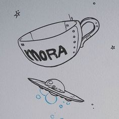 A coffee cup spaceship    #whiteboard #mural #art #drawing