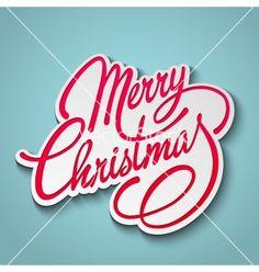 Merry christmas lettering retro design vector - by marigold_88 on VectorStock®