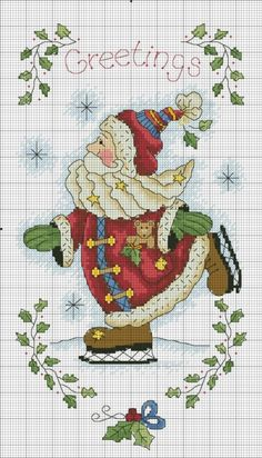 Folk Santa skating x-stitch Santa Cross Stitch, Counted Cross Stitch Patterns, Cross Stitch Charts, Cross Stitch Designs, Cross Stitch Embroidery, Embroidery Patterns, Cross Stitch Needles, Theme Noel, Christmas Cross