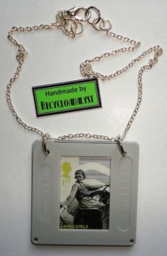 Recycled Vintage Film Slide And Postage Stamp Pendant Necklace Handmade by Recycloanalyst