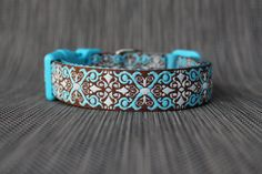 Adjustable Dog Collar - Brown & Teal - To fit Small to Large Dogs by TopPetz on Etsy