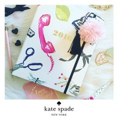 """Kate Spade 2016 Planner NWT In a playful new print, this 17-month agenda is a to-do lister's dream come true. complete with monthly and weekly spreads, note pages and laminated dividers, keeping tabs has never looked so good.  Size: 7.75""""h x 5.5""""w  17-month agenda, august 2015 - december 2016 gold foil accents, laminated tabs concealed spiral on the exterior, interior golden metallic spiral binding lay flat design interior pocket  Details: hardcover agenda with elastic closure notes and…"""