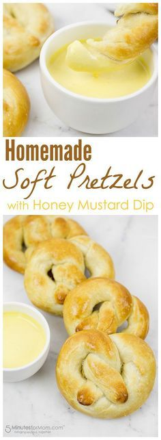 Homemade Soft Pretzels with Honey Mustard Dip Recipe -  These soft and buttery homemade pretzels might just be the most delicious things to ever come out of your oven and the honey mustard is so easy to make.