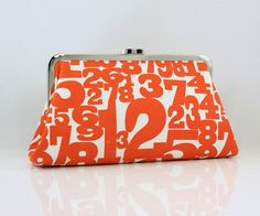 Orange Number, 8 inches Large Silver Frame Clutch - the Christine Clutch ... cute for the fashionista math geek in your life