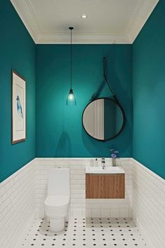 Our half bathroom ideas refer to dual sub-concepts that wrap one bathroom. This can lead to a unique look that makes the area outstanding. Read Gorgeous Half Bathroom Ideas 2020 (For Unique Bathroom) Bathroom Design Small, Bathroom Interior Design, Modern Bathroom, Bathroom Green, Turquoise Bathroom, Small Toilet Design, Minimal Bathroom, Colors For Small Bathroom, Small Dark Bathroom