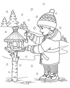 Coloring For Kids, Coloring Pages For Kids, Coloring Books, Embroidery Flowers Pattern, Embroidery Art, Winter Art, Winter Theme, Christmas Signs, Christmas Colors
