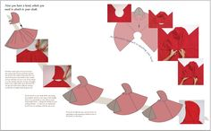 A double page spread from 'How to make a pleated cloak' showing how to position and attach a hood to the main body piece.