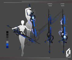 Sword of panic by tiwlymaster on DeviantArt Ninja Weapons, Anime Weapons, Sci Fi Weapons, Weapon Concept Art, Fantasy Weapons, Blue Sword, Armas Ninja, Types Of Swords, Cool Swords