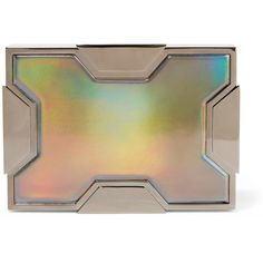 Lee Savage Space holographic leather and gunmetal-tone clutch ($1,590) ❤ liked on Polyvore featuring bags, handbags, clutches, silver, leather handbags, brown leather handbags, special occasion clutches, special occasion handbags and real leather purses