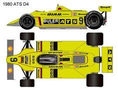 1980 ATS d4 formula 1 Auto Vintage, Ground Effects, Mclaren Mp4, Getty Museum, Formula One, F1, Race Cars, Slot, Antique Cars