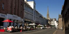 Cafés, bars and restaurants on St John's Place, Perth, Scotland