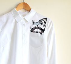 Racoon in a  pocket of shirt   handpainted  women by Dariacreative