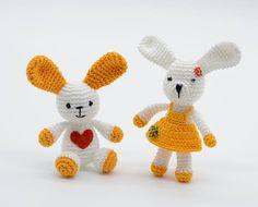 Couple of bunnies Children's day crochet rabbits mini
