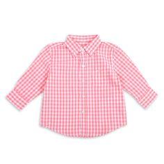 Camisa EPK manga larga para bebé niño, de cuadros en coral y blanco.