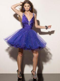A-line V-neck Royal Blue Short Prom Dress Homecoming Dress/ Cocktail Dress Sticks & Stones Mee 9165