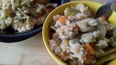 Receta: Arroz blanco largo con verduras de temporada: fabas de mayo, judías verdes, zanahorias... y salsa de soja
