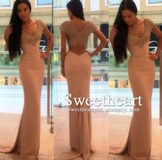 V neck chiffon mermaid beaded long prom dress, evening dress #prom #promdress #dress #formal #prom2k16
