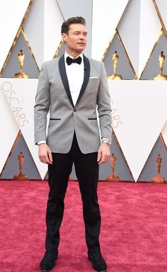 Fashion On The 2016 Oscars Red Carpet - Ryan Seacrest in Ryan Seacrest Distinction tuxedo.