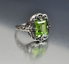 Vintage Sterling Silver Filigree Peridot Ring Size 4 Engagement Ring Art Deco Wedding Jewelry