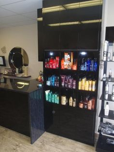 Polyurethane Shop Display Cabinet In Gloss Black Reception Counter, Entry Foyer, Joinery, Liquor Cabinet, Commercial, Restaurant, Display, Storage, Fit