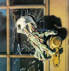 Zombie hand through glass door .