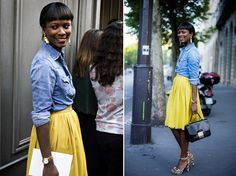 I feel like a lot of people saw this young beautiful woman and had to blog her style.  I see why...it's so fresh and cute.  I want a bright yellow skirt.  I am on the hunt
