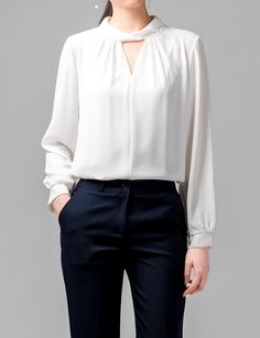 Choker Blouse (BWSG) Look mature and refined with this trendy choker blouse. Black Culottes Outfit Casual, Casual Outfits, Fashion Outfits, Casual Office Wear, Dress Codes, Korean Fashion, Dresses For Work, Street Style, Style Inspiration