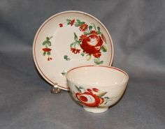 Antique English Pottery Creamware Kings Rose Pattern Tea Cup & Saucer