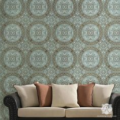 Our Aragon Damask Tile Stencil can be stenciled once as a focal point, around a surface to create a border, or repeated easily to create a gorgeous allover pattern. The large square size is perfect fo